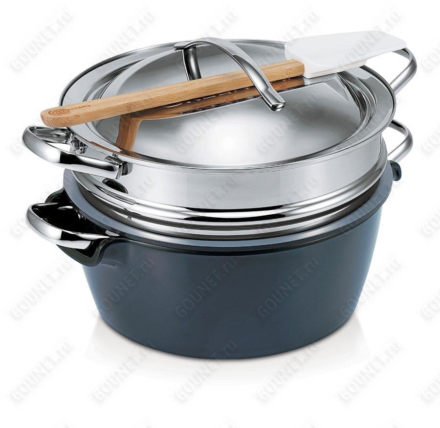 Набор посуды Green Pan Hot Pot CW0001855, 24 см (5л)  с пароваркой, черная миска