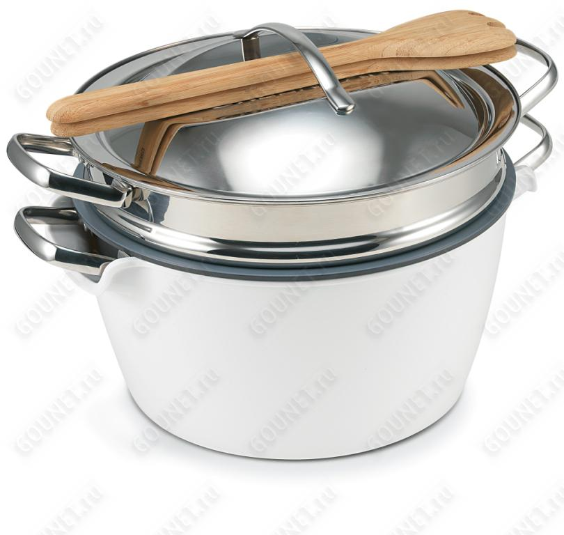 Набор посуды Green Pan Hot Pot CW0001910, 24 см (5л)  с пароваркой, белая миска