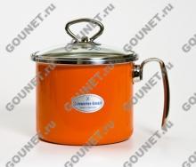 Молочник эмалированный 1,7 л SCHWERTER-EMAIL со стеклянной крышкой 90.14.120.02 (Оранжевый)