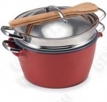 Набор посуды GreenPan Hot Pot CW0001862, 24 см (5л)  с пароваркой, красная миска