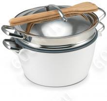 Набор посуды GreenPan Hot Pot CW0001910, 24 см (5л)  с пароваркой, белая миска